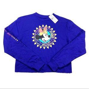 Disney Minnie Mouse Raw Hem Cropped Sweater XS